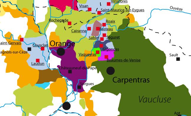 Wine maps france rhone vacqueyras