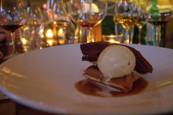 Le Pigeon honey, bacon, apricot cornbread with maple ice cream