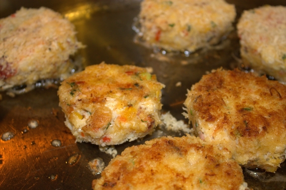 Crab cakes in pan