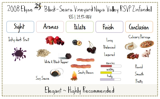 2008 Elyse Black-Sears Vineyard Napa Valley RSVP Zinfandel