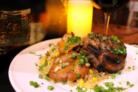 Chanterelle mushroom risotto with bacon wrapped prime tenderloin