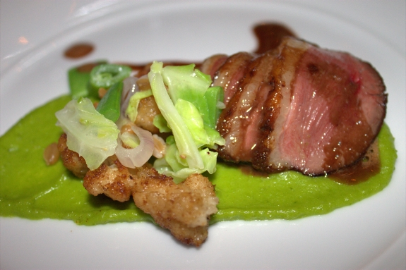 Moulard Duck Breast paired with Patz and Hall Pinot noir