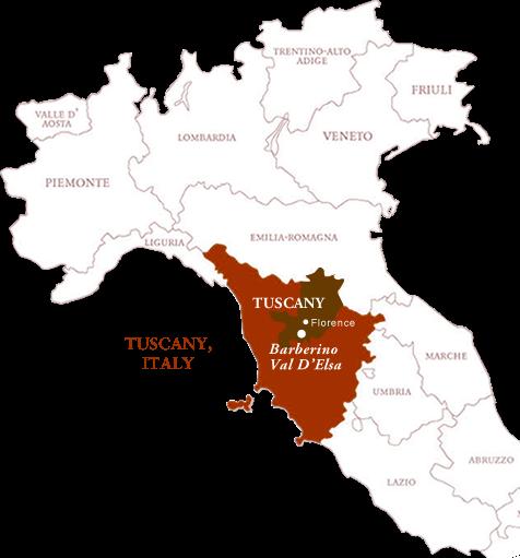 Tuscany map Monsanto Chianti Classico