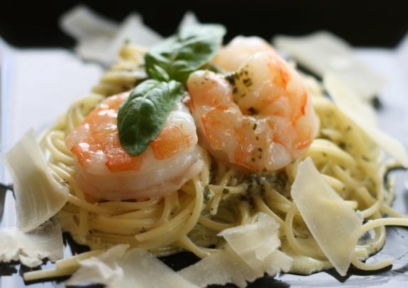 Shrip and pasta goes well with Stoneleight Latitude Sauvignon Blanc