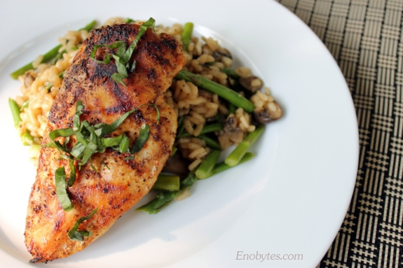 grilled chicken breast with grilled asparagus risotto