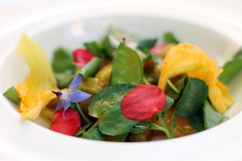 Mixed salad greens, herbs, and snow peas with edible flowers