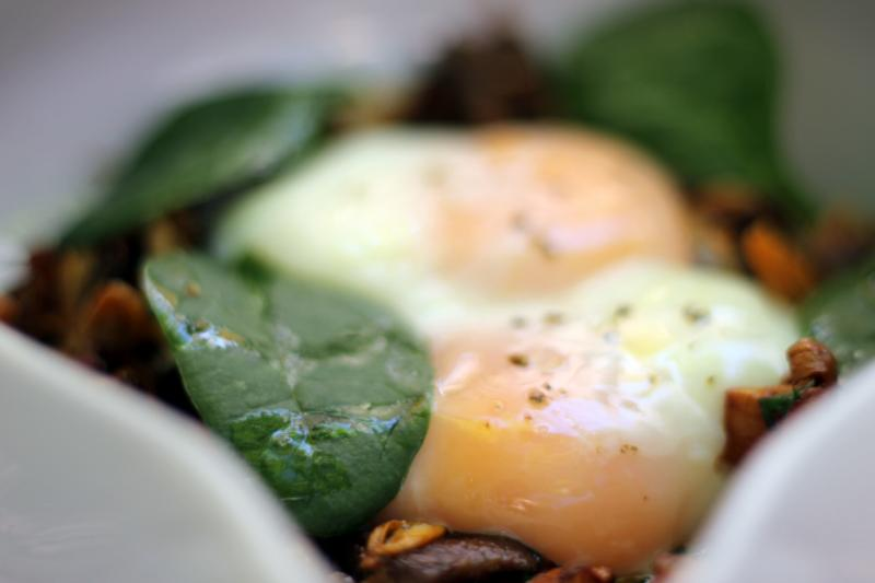 Chanterelles and coddled eggs