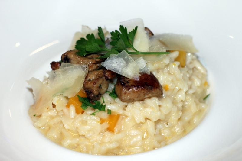 Le Mas du Lingousto Squash risotto with foie gras