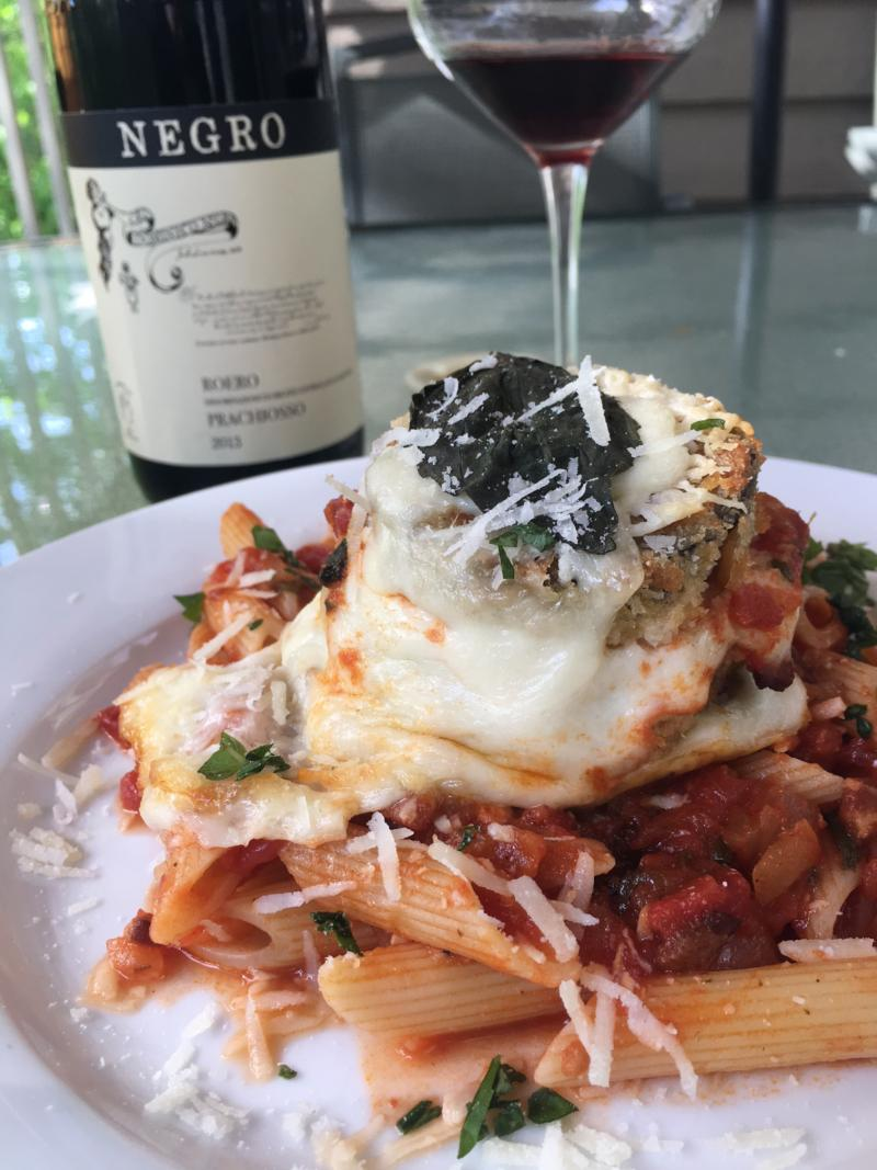 Eggplant Parmesan served with Amatriciana sauce