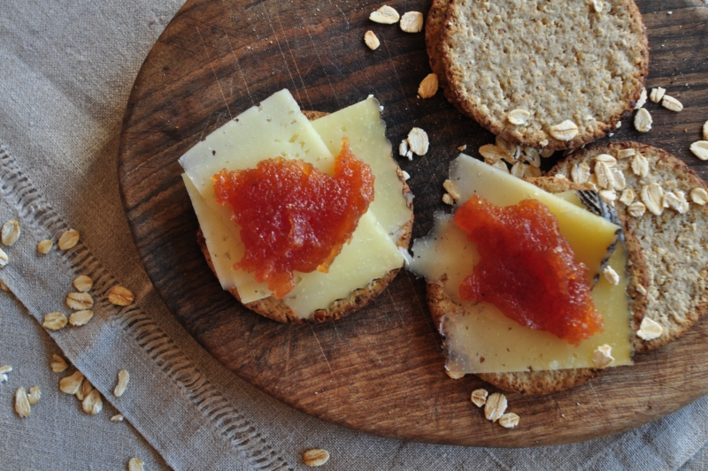cows milk cheese with quince jam